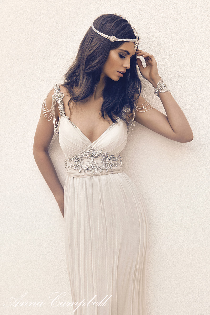 Anna Campbell Amy Dress | Vintage Inspired Embellished Silk Wedding Dress