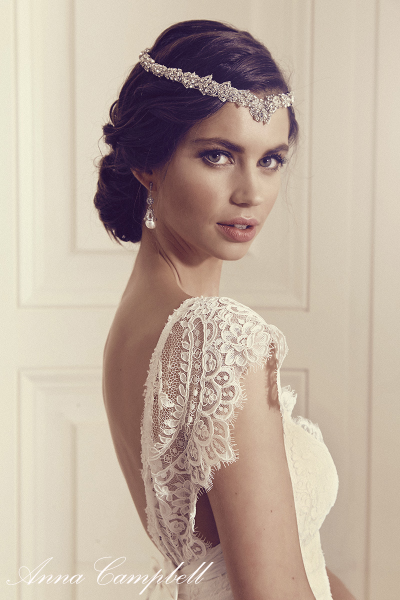 Anna Campbell Bridal Thalia Dress | Vintage-inspired lace bridal dress with low back detail