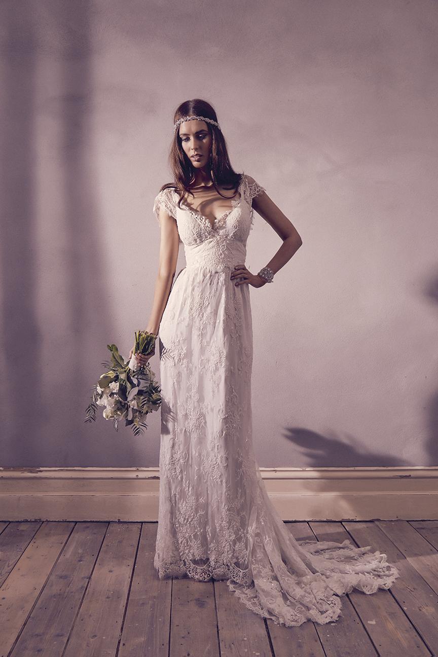 Anna Campbell Bridal Eloise Dress   Vintage-inspired embellished beaded lace wedding dress