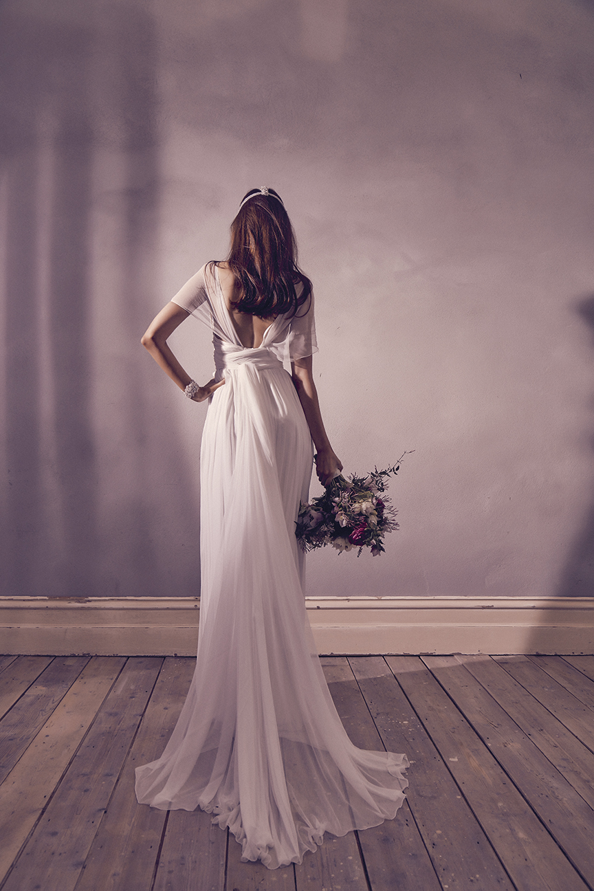 Anna Campbell Bridal Freya Dress | Vintage-inspired draped silk wedding dress