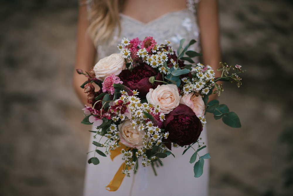 Berry toned bridal bouquet