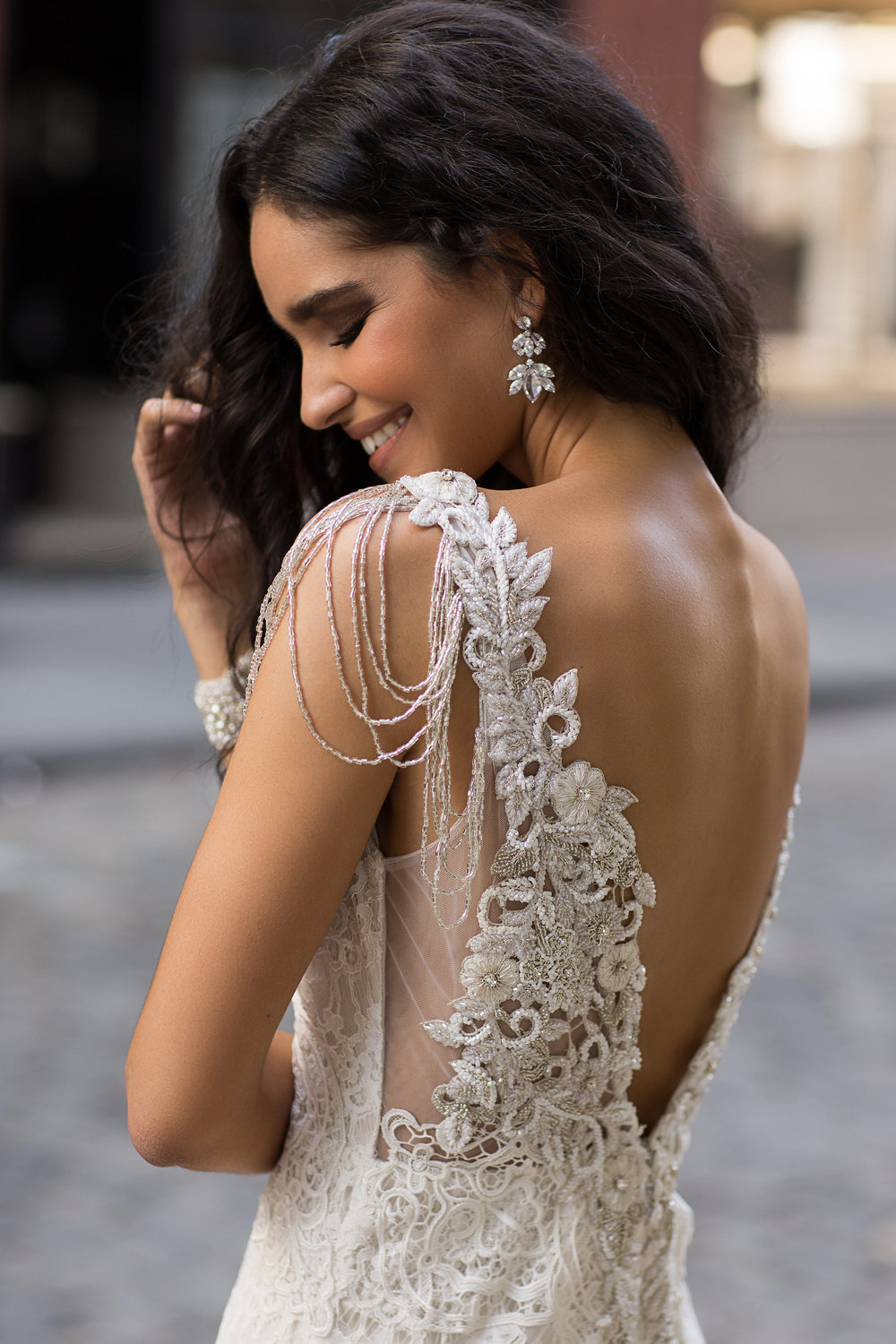 Anna Campbell Bridal Saasha Dress | Vintage-inspired lace wedding dress with embellished back details