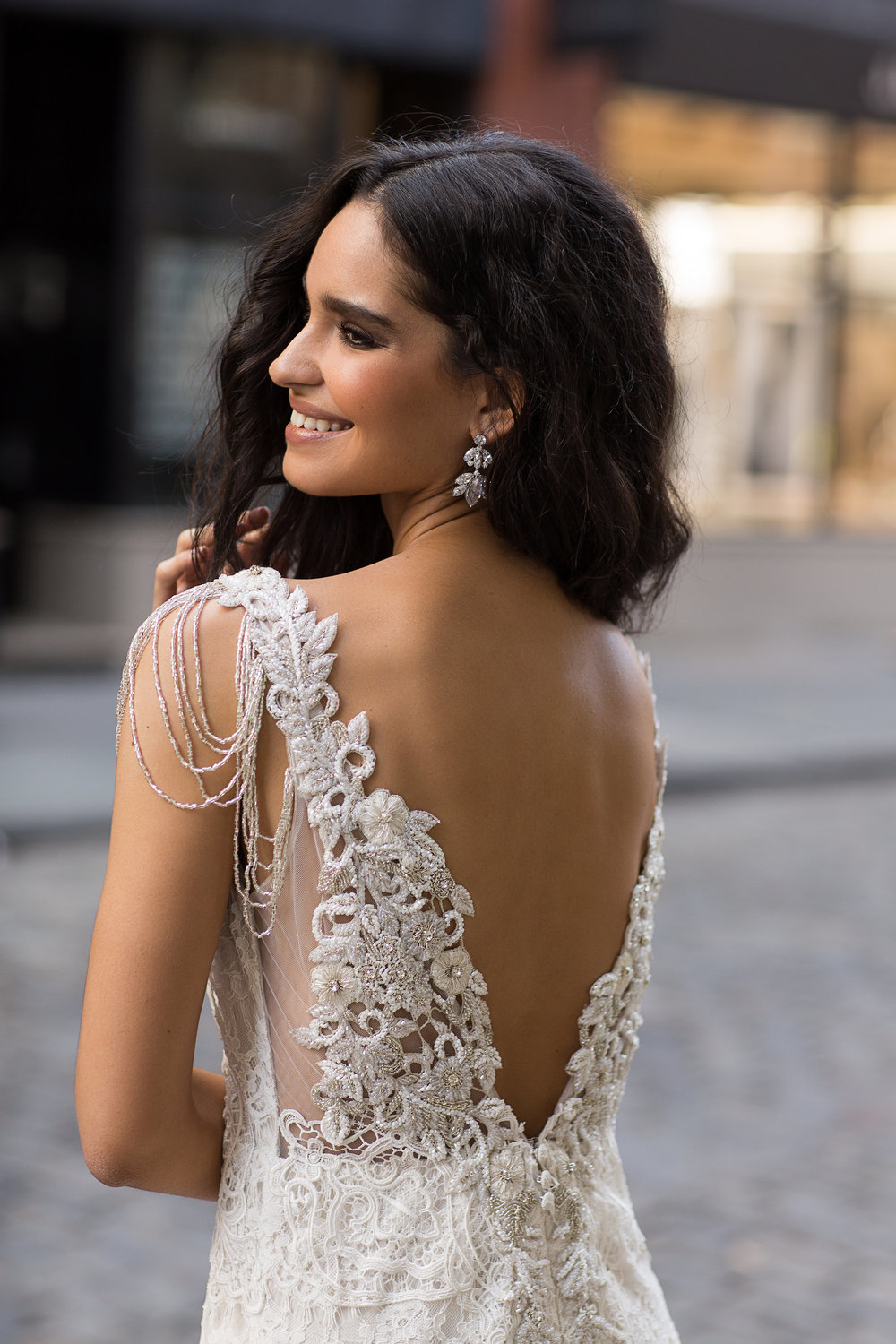Anna Campbell Bridal | Saasha Embellished Wedding Dress | Modern lace wedding gown with beaded low back and shoulder details