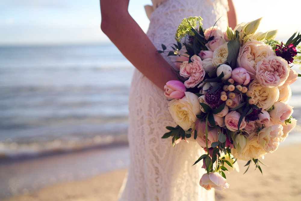 Pastel pink bridal bouquet and Anna Campbell Bridal Eleanor Dress