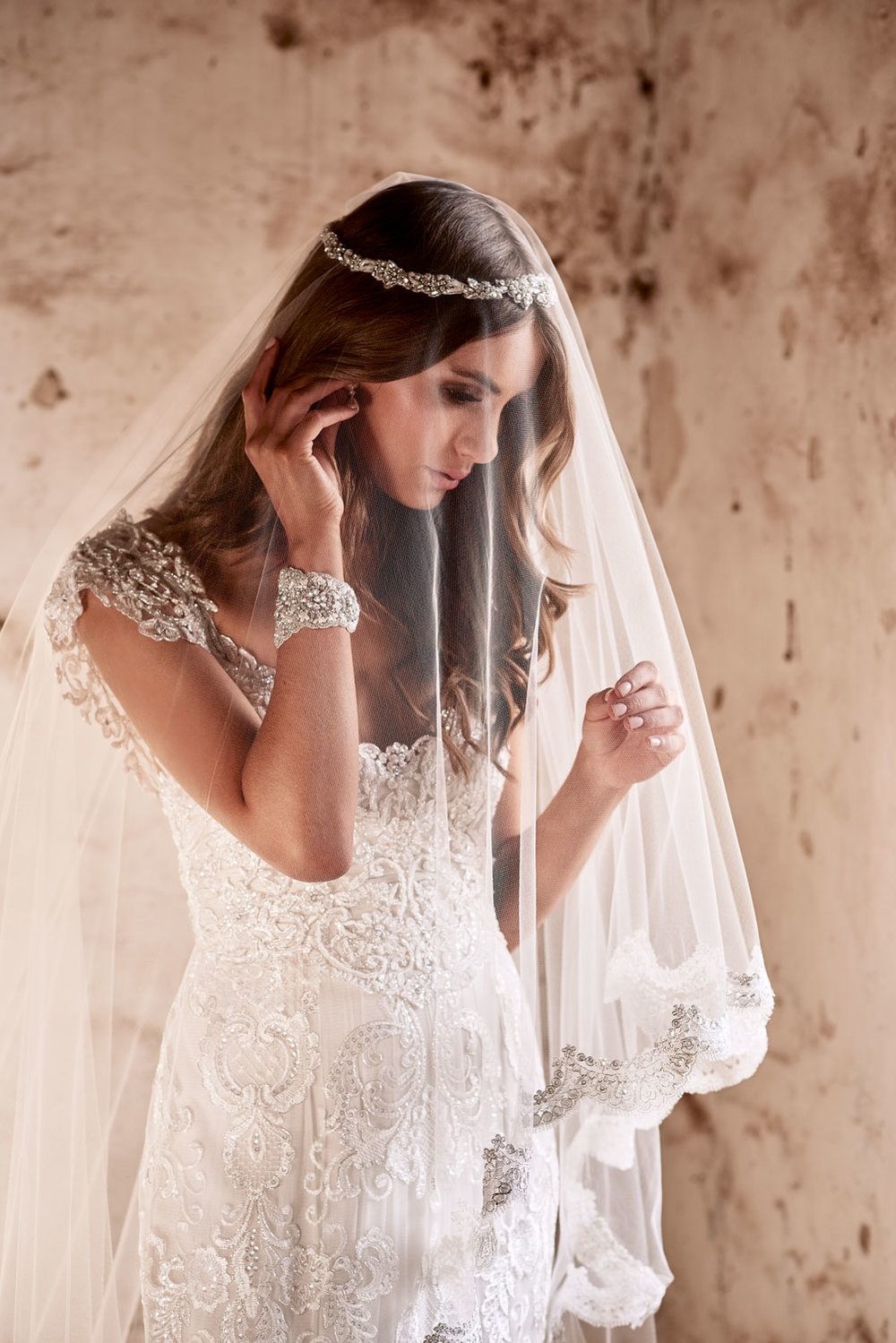 2b1c21b4a Anna Campbell Bridal | Alyssa Dress styled with the Alyssa Veil, Belle  Headpiece and Pearl