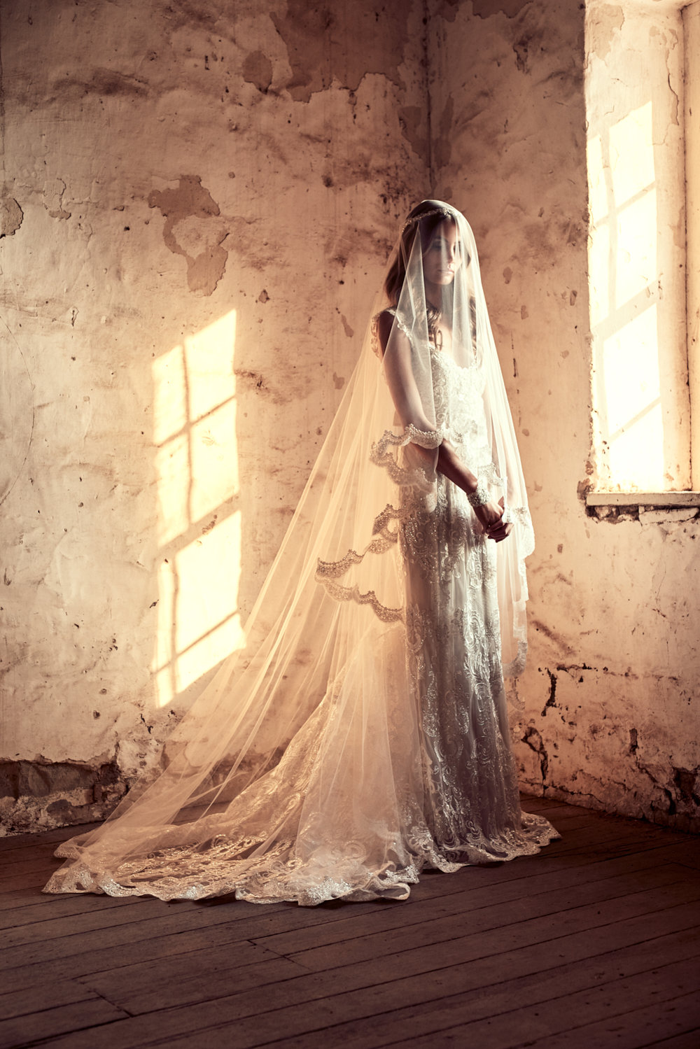 The Alyssa Dress styled with the Alyssa Veil (Chapel Length with Blusher)