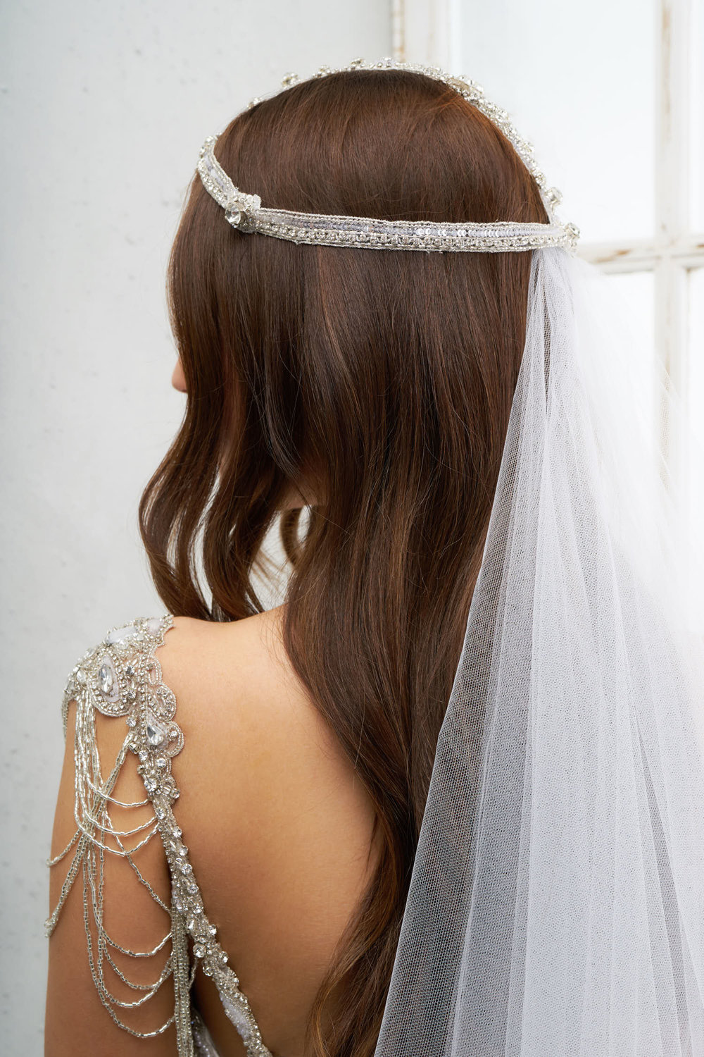 The Isla Headpiece styled with the Zara Veil (Chapel Length without Blusher)