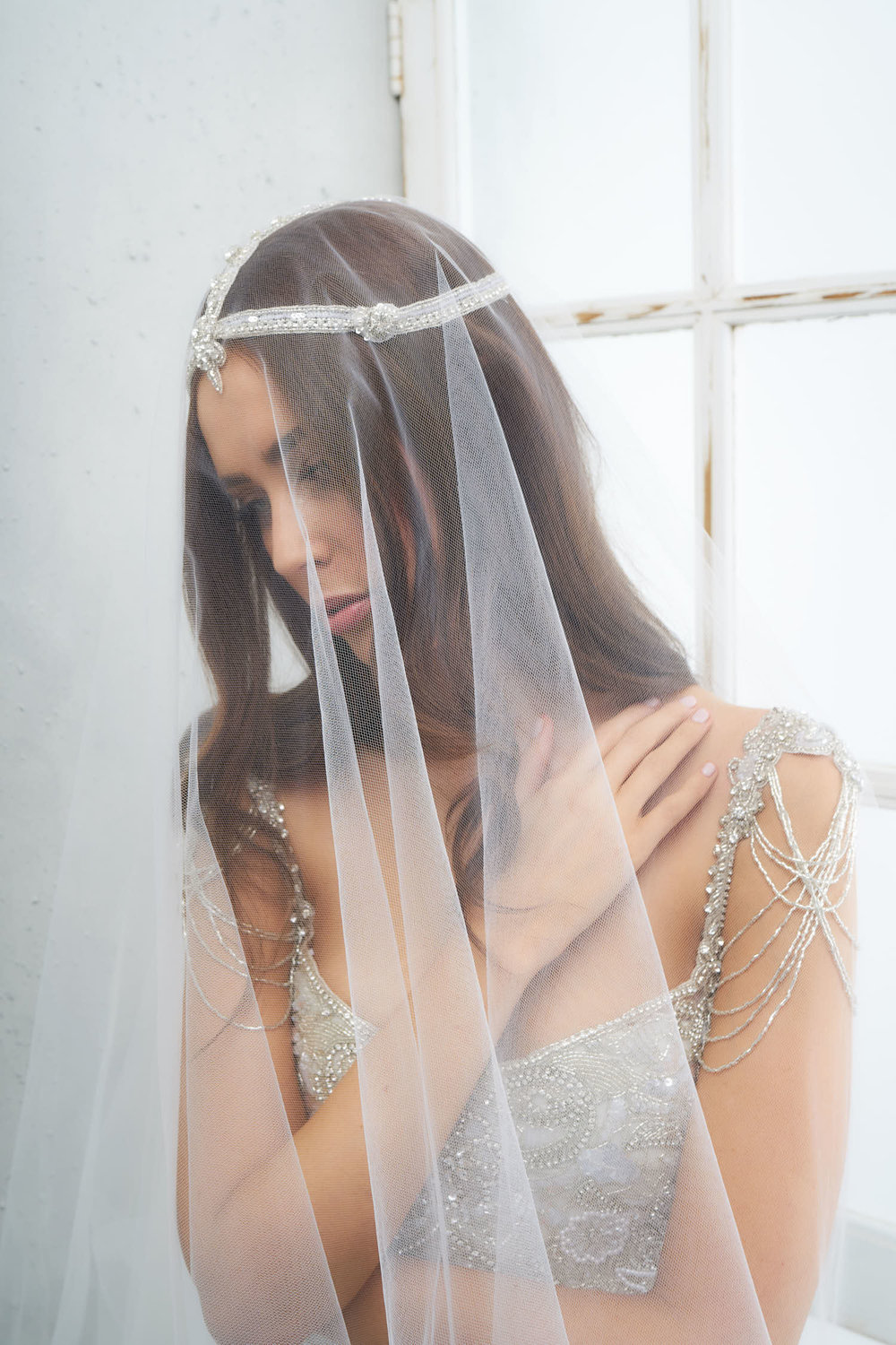 Isla Headpiece styled with the Zara Veil (Chapel Length with Blusher)