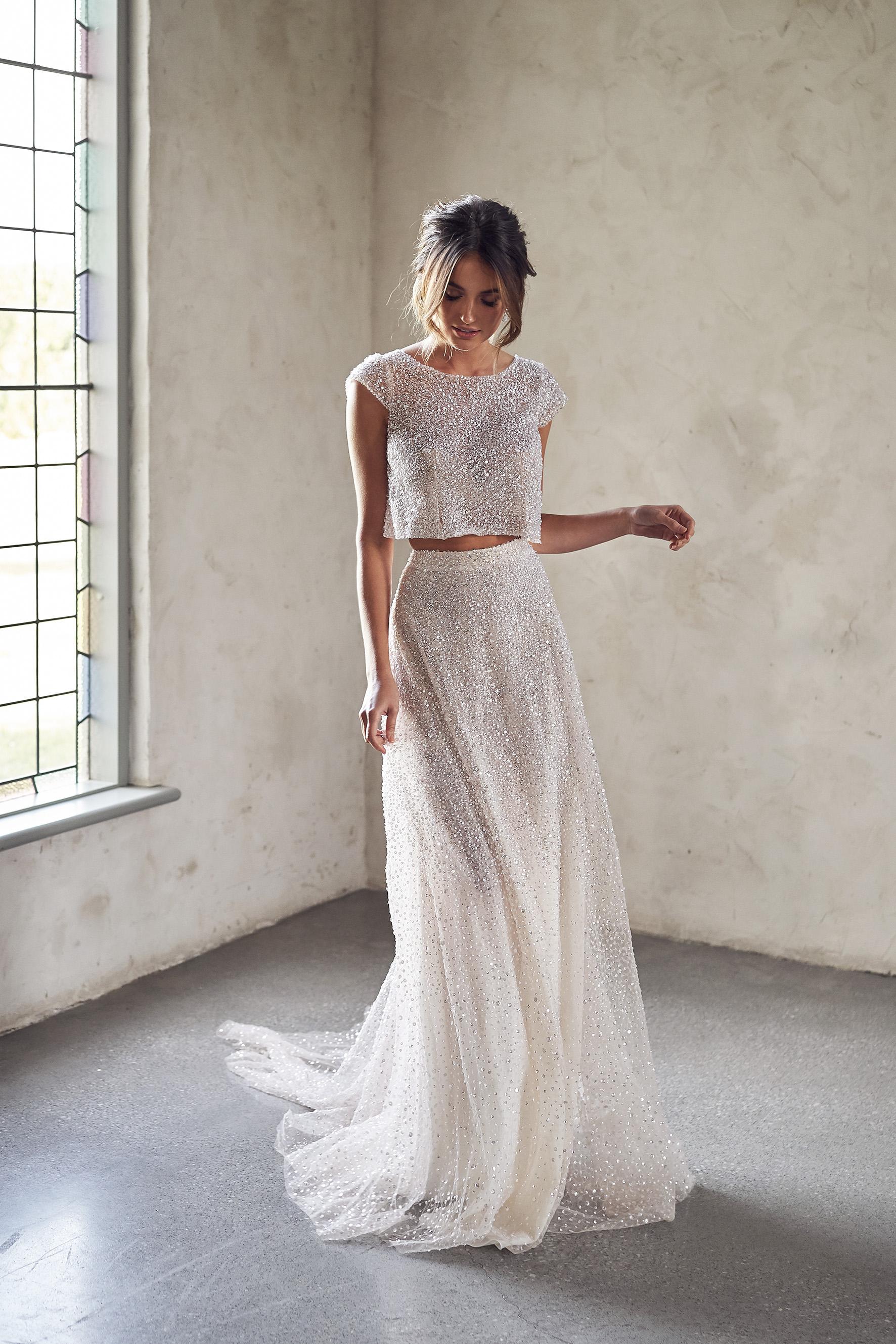 Sequin Wedding Dress Two Peice
