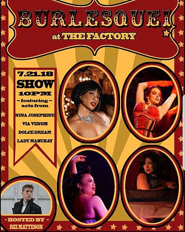 Burlesque show at the Factory this Saturday!!! #burlesque #show #thefactorybk #bar #restaurant #bushwick #ridgewood #queens #brooklyn #ny #nyc #drinks #drank #cocktail #food #burger #fries #salmon #rustic #craft #bar #local #steak #goodfood #goodvibes