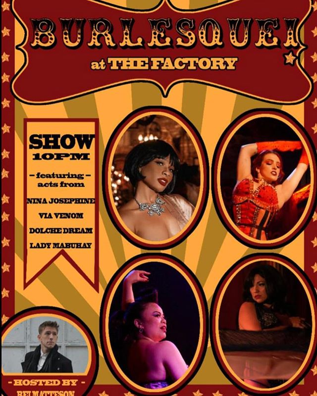 Hey, guys! Just a reminder. The burlesque at the Factory is TONIGHT! #burlesque #show #saturday #night #thefactorybk #food #goodfood #drinks #dranks #bar #restaurant #brooklyn #bushwick #ridgewood #queens #ny #nyc #craftcocktails #burger #fries #dumplings #crispysalmon