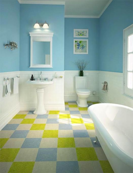 Natural linoleum in bathroom - checkers.jpg
