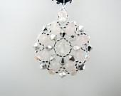 Silver AB2X Swarovski Crystals and Rose Quartz Gemstones Medallion Beaded