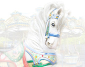 Carousel White Horse in a Child's World - A Fine Art Photograph