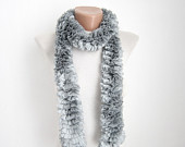 Gray Knit Scarf Fall Fashion Frilly scarf Ruffled Scarf  Holiday Accessories