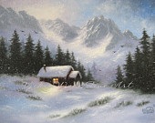 Snowy Hideaway Art Print, snow, mountains, cabin, winter, paintings, prints, mountains, landscape, Vickie Wade art