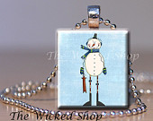 Scrabble Tile Pendant - Happy  Snowman on Blue -Free Silver Plated Ball Chain Included  (MAN2)