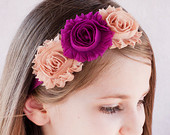 Triple Shabby Chic Flower Headband - Tan & Magenta - Thick Elastic - Baby Headband Adult Headband Child Headband
