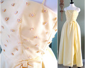 1960s Yellow Formal Dress Young Cosmopolitans Best and Co., Vintage Yellow Party Dress, New Years Party