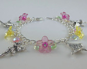 Girls Fairy Charm Bracelet in Pink and Yellow   --  Bonnie  --
