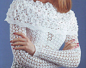 Crocheted sweater  made to order, crochet handmade flowers lace elegant chic