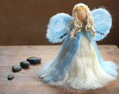 Needle Felted, Christmas, Tree Top, Angel, Heirloom, Tree topper, Waldorf, Blue, Xmas, Guardian Spirit, Nativity, White,Blue, Gold Wool,
