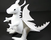 SHIPS AFTER CHRISTMAS Snow Dragon, All White Stuffed Dragon Plush, Handcrafted of Eco Felt, Toy Stuffed Animal, Eco Friendly Toy, Kids