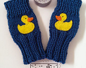 Cute Toddlers Fingerless Gloves, Yellow Ducky, Ocean Blue, Sweet, Small Cute Kids