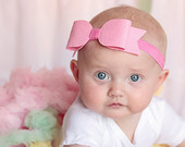 Children's Headband Pink Felt Bow on Soft Elastic Headband Extra Large Felt Bow Headband - baby to adult headband