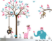 Pink, grey and turquoise childrens nursery jungle wall decal tree - 046