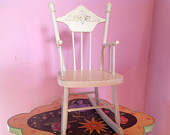 70s wood rocking chair children kids toy dollhouse miniature furniture shabby cottage chic white lacquer