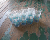 Vintage Anchor Hocking 12oz Blue Glasses Set of 8