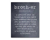 Wall Art - A brother is a person - Brother Quote - Inspiration - Typography Art Print - Room decor - Brother Gift - Boys Room Wall Art