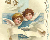 Angel Faces in the Clouds Blue Cross and Bell Vintage Easter Postcard IAPC Grants Pass Oregon 1909 and flag cancel