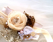 Vintage Up-cycled Holiday Bracelet. French Shabby Flower Cuff. Boho. Rustic Weddings. Prairie Girl Accessory. Christmas Gift for Her