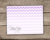 Purple Thank You Cards - Printed or Printable, Instant Download, Ombre, Chevron, Wedding, Bridal, Baby Shower, Engagement - #006