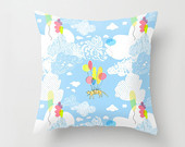 Nursery Pillow cover, Baby Nursery cover, Flying Cat, Blue Nursery Decor, Pastel Pillow, Children pillow, Balloon Nursery, Summer decor