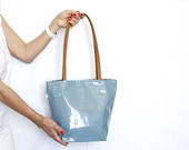 Light blue Faux patent leather Tote bag , Leather handles