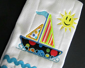 Sailboat and Happy Face Burp Cloth, Embroidery Applique, Aqua Rick Rack Trim, baby item, new baby, infant item