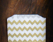 """25 Metallic Gold and White Chevron Paper Bags, Party Favor Bag, Gift Bag, 5 x 7.5"""", Wedding Favor Bags, Candy Buffet Bag"""