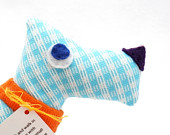 Gingham Scotty Dog Baby Plush Toy Handmade Stuffed Animal Blue Orange