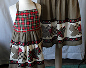 Mother Daughter Full Apron Set with Plaid and Checked Scottie Dogs in Red, Green, Black & Khaki