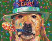 Yellow Labrador Retriever Art New Year Print