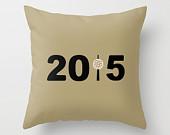 New York 2015 Pillowcase, Golden Brown & Black New Year Ball Drop Throw Pillow Cover