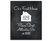 Personalized Wall Art - Our first home - Customizable Housewarming gift - Typography Art Print - House silhouette - wedding gift