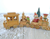 Vintage 1984 Dakin of San Francisco Wood Santa Train Christmas Decoration