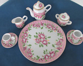 Vintage Miniature Child Pink Floral Tea Set In Original Box Nantucket Collectables