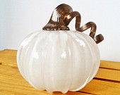 SALE, Blown Glass Pumpkin, Snow White/Metallic Rustic Gold