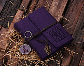 Personalized Monogrammed Key Chain and Diary Journal Notebook Gift Set for Women  (024951)  - Sample in Purple