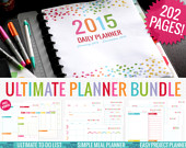 2015 Ultimate Planner Printable Bundle | 2015 Daily Planner | Gift for Women | Meal Planner | Project Planner | Printable